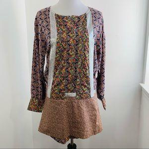 Vanessa Bruno Silk Floral Metallic Tunic Dress S